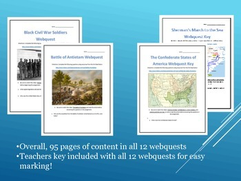 American Civil War Webquest Bundle