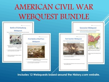 American Civil War Webquest Bundle