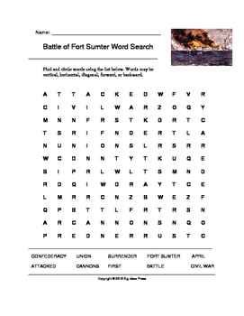 Battle of Fort Sumter Word Search (Grades 4-5)