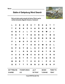Battle of Gettysburg Word Search (Grades 4-5)