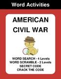 American Civil War - Word Search, Word Scramble,  Secret C