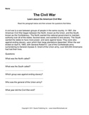 American Civil War Worksheet