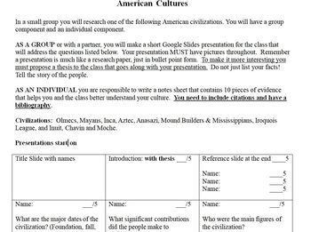 American Civilizations (Pre-Colombian) PowerPoint Project for Students