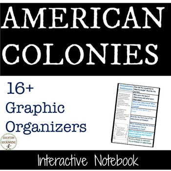 American Colonies Interactive Notebook Graphic organizers PLUS Timeline Activity