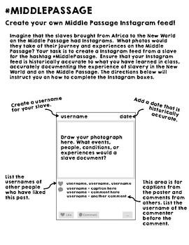 American Colonies #MIDDLEPASSAGE Slave Trade Instagram Activity