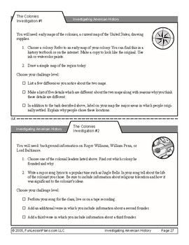 American Colonies PBL Task Cards 1 & 2
