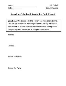 American Colonies & Revolution Homework Definitions II