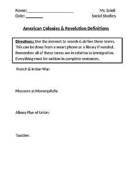 American Colonies & Revolution Homework Defintions I