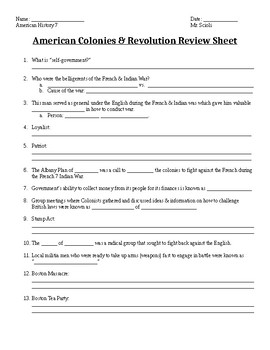 American Colonies & Revolution Review Sheet