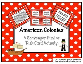 American Colonies Task Cards or Scavenger Hunt