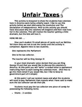 American Colonies: Unfair Taxes activity