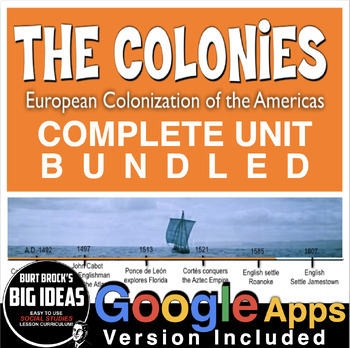 13 Colonies Unit (American Colonies) PowerPoints, Primary Source Docs, Test