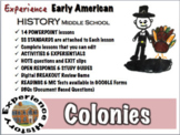 American Colonies Unit: Lessons, Readings, Breakouts & Tests/ Middle School