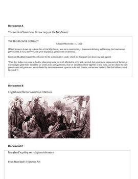 American Colonies mini test and DBQ