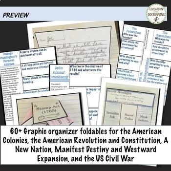 American Colonies to Civil War Interactive Notebook Graphic Organizer Bundle