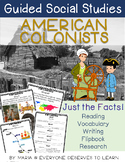 Guided Social Studies: American Colonists 13 Colonies 5W's and How