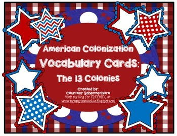 Vocabulary Cards-Social Studies: Thirteen Colonies