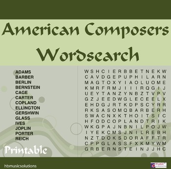 American Composers Wordsearch