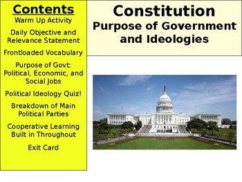 American Constitution - Purpose of Government and Ideologies