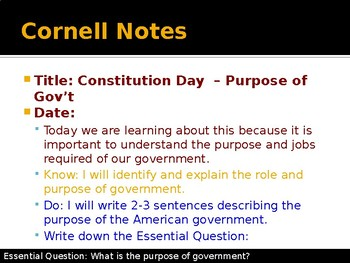 American Constitution Day 2 - Purpose of Government and Ideologies
