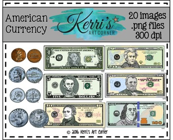 Money Clip Art - Dollars and Cents, American Currency