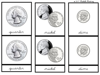 American Currency: Montessori Three Part Cards