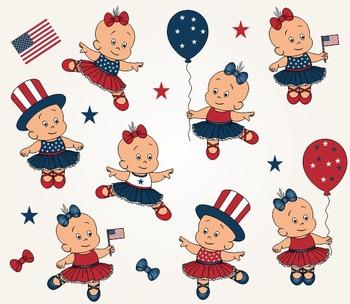 American Cute Girls Clip Art