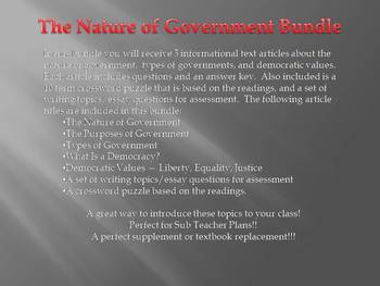 Info Reading Text - American Democracy Bundle: Nature of Government (No Prep)