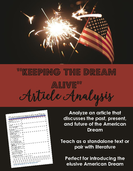 American Dream Article Analysis -- Informational Text -- Pair with Literature