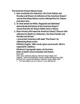 American Dream Essay Topics