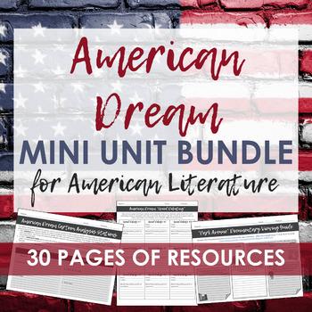 American Dream Mini Unit - Perfect for American Literature