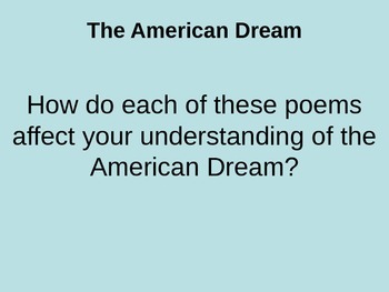 American Dream Poems PowerPoint