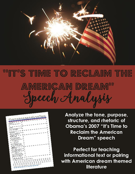 American Dream Speech Analysis -- Informational Text -OR- Pair with Literature