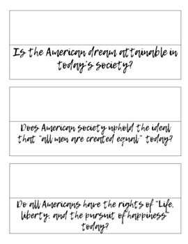 American Dream Speed Debating Discussion - Engaging Activity