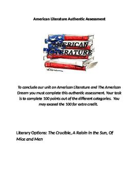 American Dream Thematic Unit Learning Menu