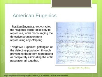 American Eugenics and the Connection to the Final Solution Power Point