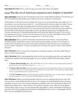 American Expansion or Imperialism DBQ Five Paragraph Essay Pre-Write