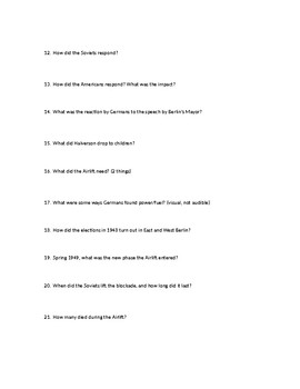 American Experience Berlin Airlift Question Sheet