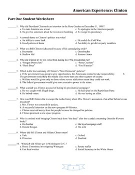 American Experience Clinton: Worksheets for Entire Series (Parts One and Two)