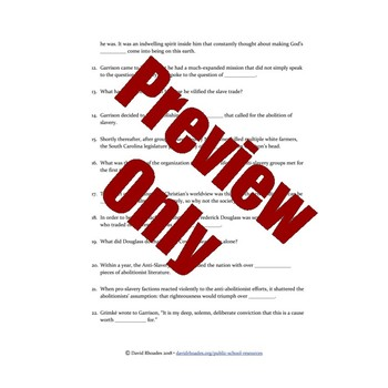 The Abolitionists - Episode 1 - Video Response Worksheet & Key (Editable)