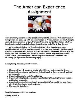 American Experience: The Immigrant Experience Assignment