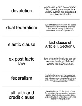American Federalism Vocabulary Flash Cards for American Government