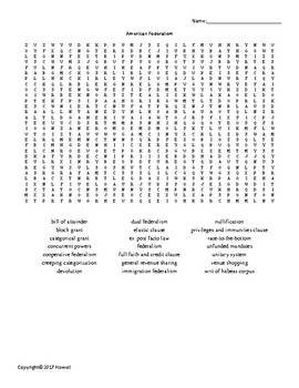 American Federalism Vocabulary Word Search for American Government