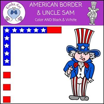American Flag Border & Uncle Sam Clip Art FREEBIE