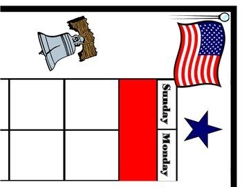 American Flag Calendar. Patriotic Calendar. USA Theme Bull