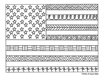 Presidents Day- American Flag Collaboraiton Coloring Poster
