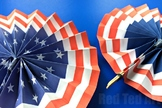American Flag Fans - Paper Craft for Memorial Day, Flag Day, 4th July