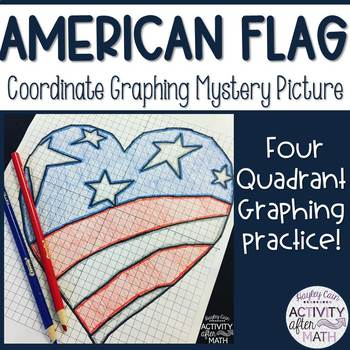 American Flag Heart Coordinate Graphing Ordered Pairs Mystery Picture