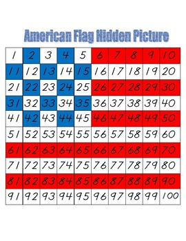 American Flag Hidden Picture (Hundreds Board Activity)