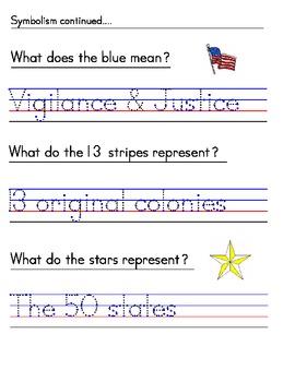 American Flag - Manuscript Print Handwriting Packet
